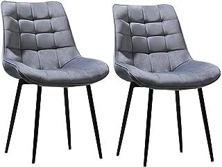 ZCXBHD Sillas de Comedor Dining Chairs Nordicas Estilo Vintage Sillas de Cocina Sillas Tapizadas en Estructura Metal Sillas Salon (Color : Gray, Size : 2PCS)