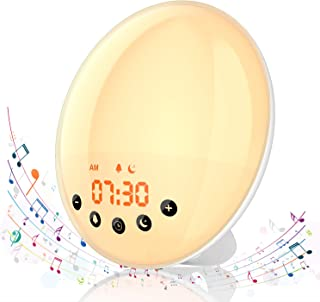 Hosome Wake Up Light Alarm Clock with Sunrise/Sunset Simulation, Snooze Function and FM Radio, 8 Natural Sounds and 1 Recording, 7 Colours Bedside Lamp/Mood Light for Bedroom