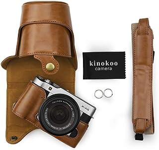 kinokoo 富士フイルム FUJIFILM ミラーレス一眼 X-A3 / XA5 専用カメラケース カメラバック レンズ:16-50mm,18-55mm PUレザー 三脚穴付き ショルダーストラップ付き (ブラウン)