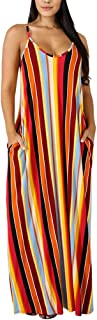 Womens Summer Suspender Maxi Dress Plus Size Striped Printed Sleevess with Pockets and Belt