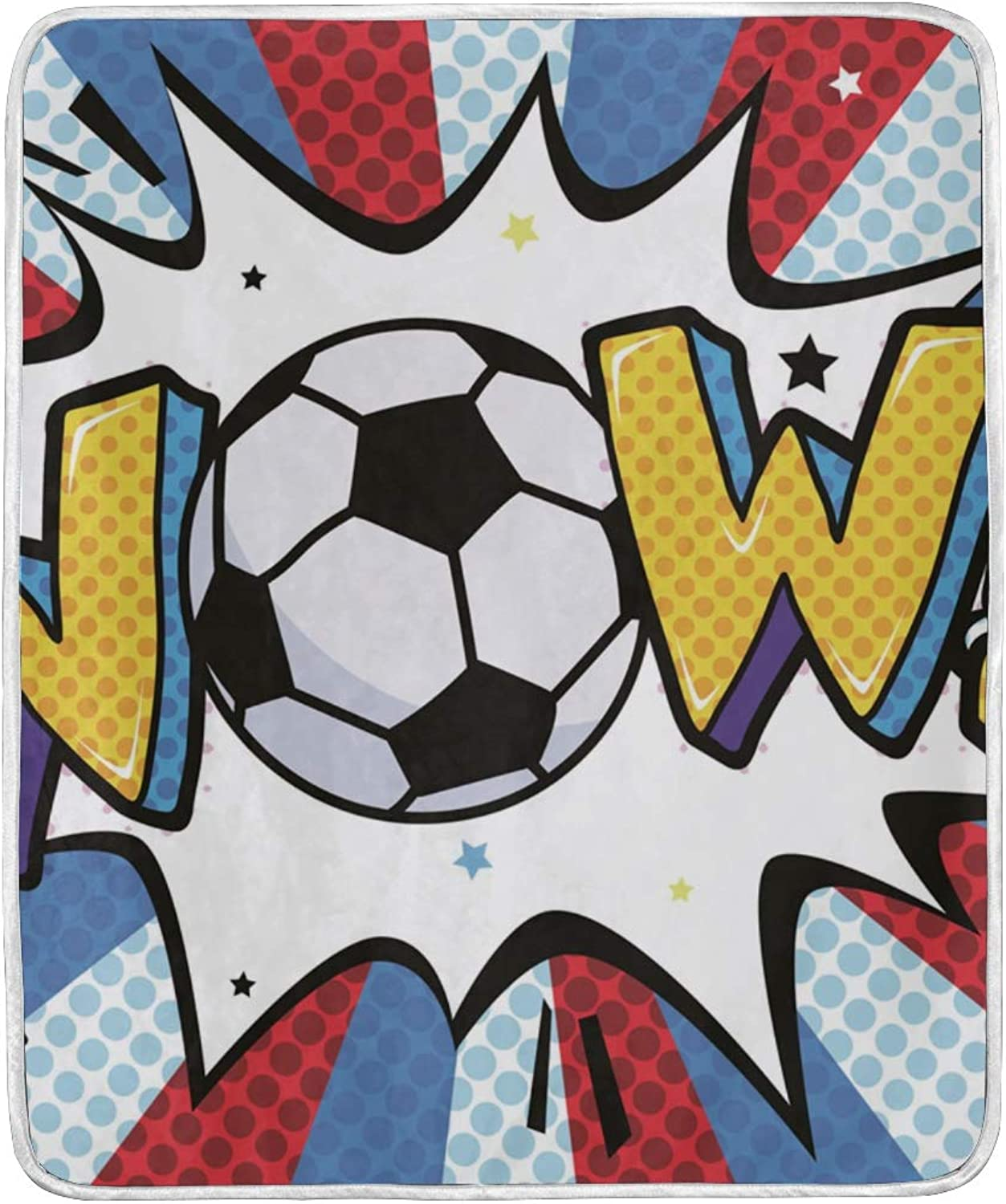 WIHVE Home Decor Blanket Wow Soccer Ball Throw Lightweight Soft Warm Blankets for Bed Couch Sofa 50 X 60 Inches