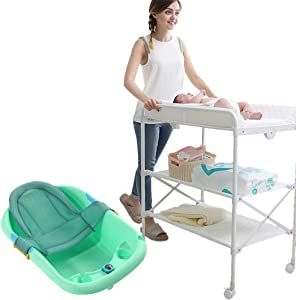 Folding Changing Table Baby Diaper Station with Bath Tub Unit  Portable Children Baby Dresser Unit Infant Nursery Storage Organizer  Color Green