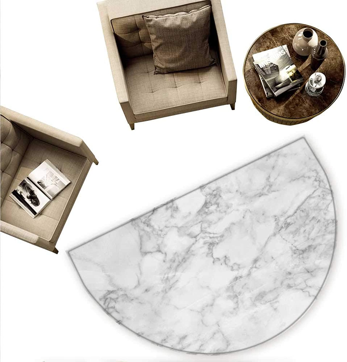 Marble Semicircular Cushion Nature Granite Pattern with Cloudy Spotted Trace Effects Marble Artistic Image Entry Door Mat H 63  xD 94.5  Pale Grey Dust