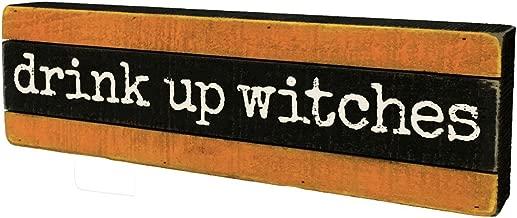 Primitives by Kathy Halloween Slat Wood Box Sign - Drink Up Witches - Orange Black