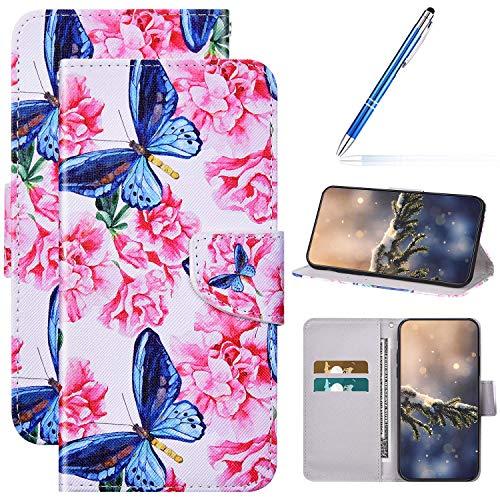 Kompatibel mit Huawei Honor Play 4T Pro Hülle Lederhülle Handytasche,Bunte Gemalt Muster Leder Schutzhülle Klappbar Bookstyle Brieftasche Handyhülle Flip Wallet Tasche Case,Schmetterling Kirschblüte