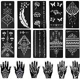 Wudong Kit de Plantillas de Tatuaje de Henna de 16 Piezas, Kit de Plantilla de Tatuaje Temporal Reutilizable Indio árabe Mehndi para Dedo, Mano, Brazos, Cuerpo, Pintura de Arte DIY