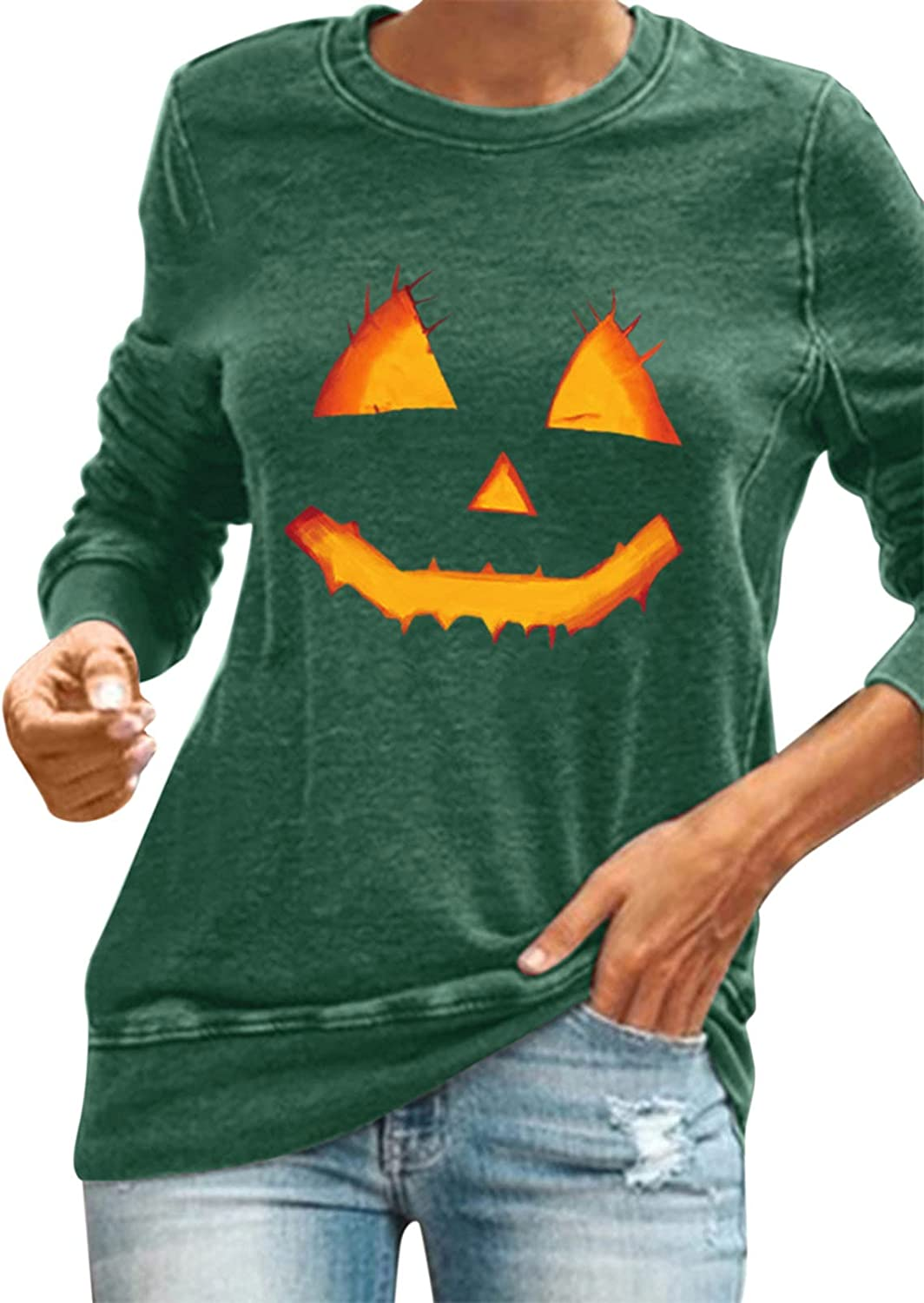 Halloween Blouse for Direct store Women Womens Pumpkin Face Graphic Hoodies Sale special price P