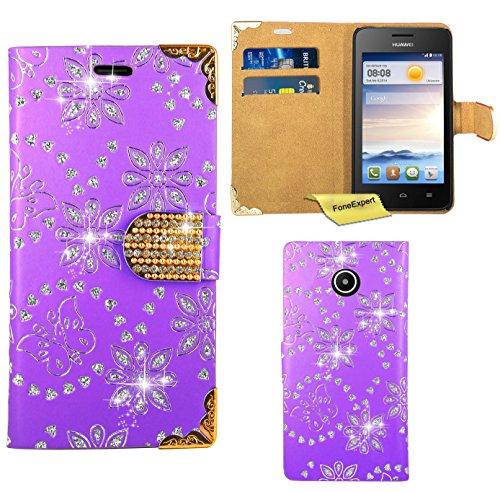FoneExpert® Huawei Ascend Y330 Handy Tasche, Bling Diamant Hülle Wallet Case Cover Hüllen Etui Ledertasche Premium Lederhülle Schutzhülle für Huawei Ascend Y330 (Lila)