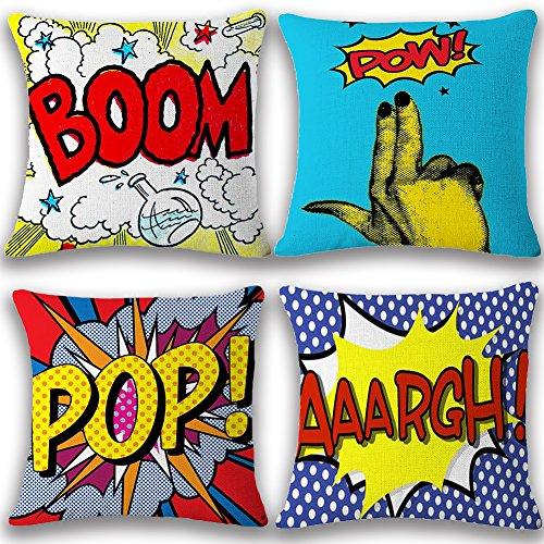 JOTOM Fodera per cuscino Cuscino fodere per cuscini 45 x 45cm Set di 4 (BOOM POP )