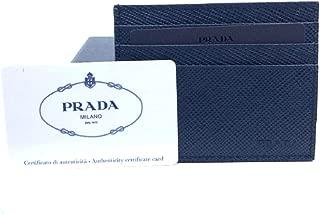 Prada Portacarte Di Cred Saffiano Cuir Blue Leather Card Case 2MC223