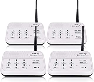 Wireless Intercom System (New Version), TekeyTBox 1800 Feet Long Range 10 Channel Digital FM Wireless Intercom System for Home and Office Walkie Talkie System for Outdoor Activities(4 Stations White)
