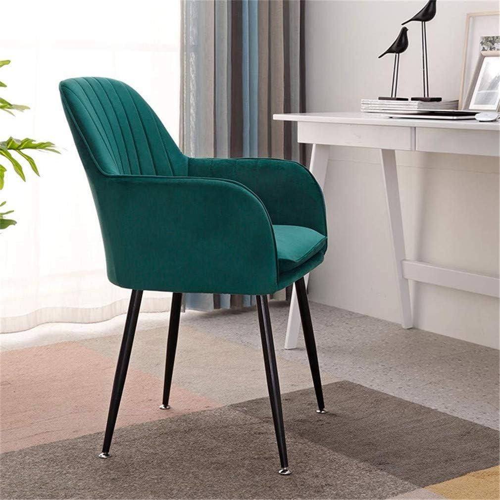 Wuzhengzhijia Chaise à Manger de Velours Simple, Chaise de Maquillage de la Mode Maison, avec Dossier et accoudoirs Chaise de Cuisine Confortable (Color : Dark Blue 1) Dark Green 2