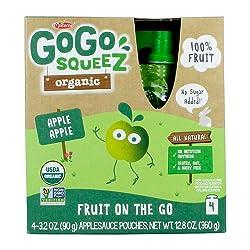 GoGo squeeZ Organic Applesauce on the Go, Apple Apple, 3.2 Ounce (4 Pouches), Gluten Free, Vegan Fri