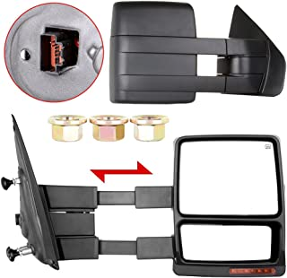 OCPTY Tow Mirror for 2007-2014 Ford F-150 F150 Pickup Truck Pair Set Power Heated Puddle Signal Manual Telescopic Towing Mirrors (RH+LH)