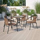Flash Furniture 4 Pack Medium Brown Rattan Indoor-Outdoor Restaurant Stack Chair