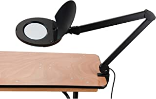 LED Magnifying Lamp With Covered Metal Arm, 8 Diopter, Black