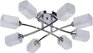 DeMarkt 638012208 Araña de Techo Bajo Moderno de Metal Color Cromo E Blanco 8 Brazos en La Sala de Estar O Cocina