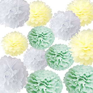 HappyField Sage Green Baby Shower Decorations Sage Green Birthday Party Decorations Sage Green Wedding Party 12PCS 10inch 12inch Sage Green White Cream Tissue Pom Poms Hanging Paper Flower Decor