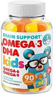 Omega 3 Gummies for Kids & Toddlers with Omega 6 & 9 (90 Count) DHA Children Brain Supplement for Heart and Vision Support...