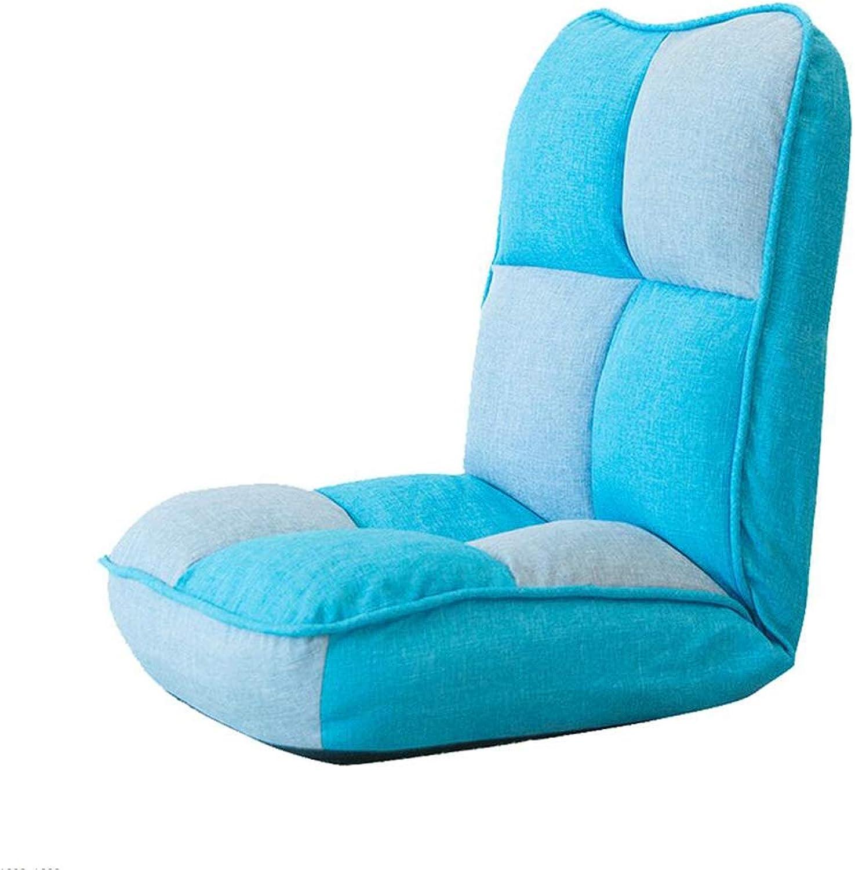 MOOMDDY Einzelsofa, Faltbare Lazy Couch, Schlafsaalstuhl, Bett Computer Stuhl, Balkon Lounge Sessel,Blau