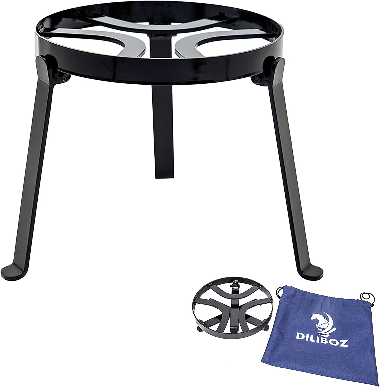 Diliboz campfire tripod for camping cooking in cast iron - campfire grill for fire pit dutch oven - outdoor open fire cooking and survival stove
