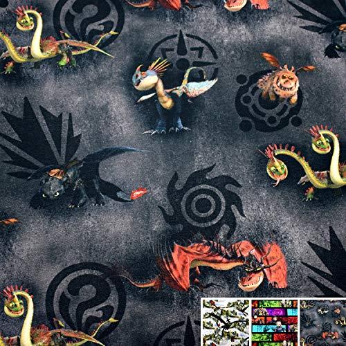 MAGAM-Stoffe Drachenzähmen Drachen Leichter French Terry Kinder Stoff Oeko-Tex Meterware 50cm (Drachen Schwarz)