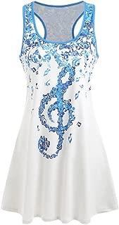 Clearance Women Summer Racerback Tank Top Vest Cuekondy Fashion Casual Musical Note Sleeveless T-Shirt Tops Blouse (2XL, White)