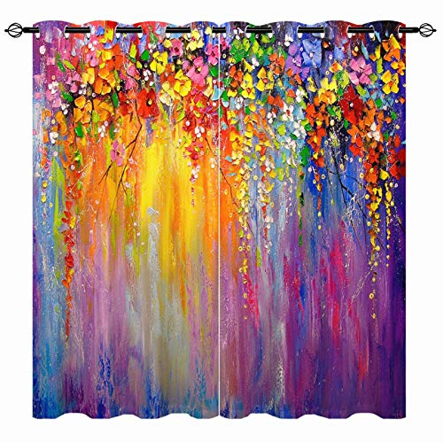 ANHOPE Watercolor Blackout Curtains - Girls Colorful Abstract Oil Painting Flowers Floral Spring Print Pattern Grommet Thermal Insulated Window Drapes for Kids Bedroom Living Room 2 Panels W42 x L84