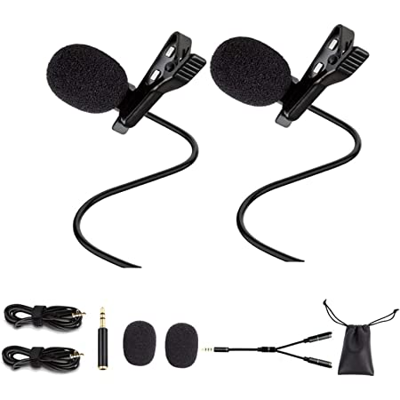ILamourCar 2 Pack Professional Lavalier Lapel Microphone Clip on Mic 3.5mm Omnidirectional Condenser Mic Complete Set Audio Recording Mic for Android//iPhone//PC//Camera for YouTube Video Conference