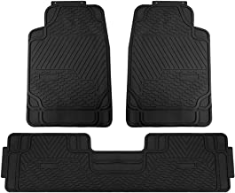 FH Group F11309BLACK Black-Solid 3 Piece Heavy Duty All Weather Floor Mats