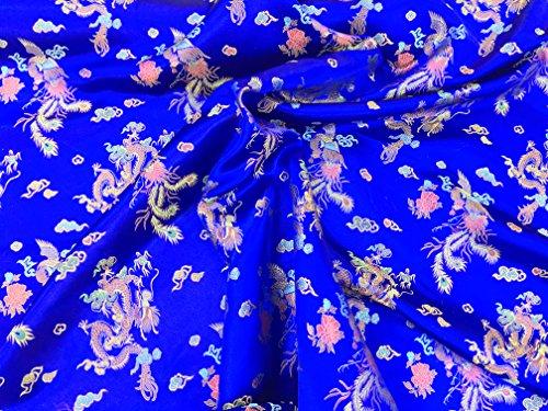 Prestige Chinesische Seide, mit orientalischem Drachenmuster, Brokat, zum Schneidern, für Abendkleid, Meterware königsblau
