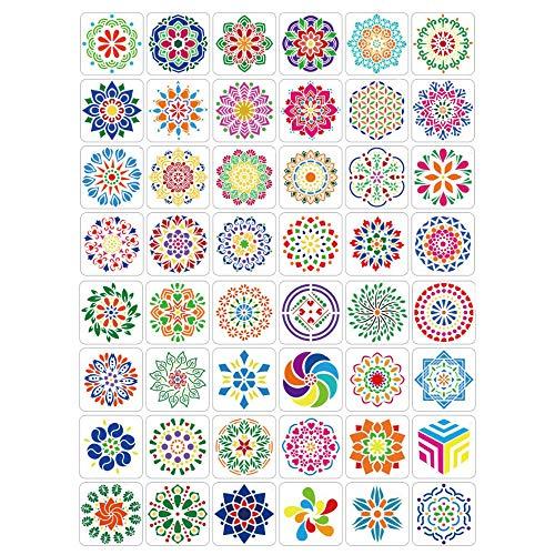 Aweisile Mandala Schablonen 48 Stück Mandala Schablone Mandala Dotting Schablone Steine Bemalen Buch Blumen Punktierung Schablonen 13 X 13cm für Steine Stoff GlasKeramik Wänden und Möbel usw