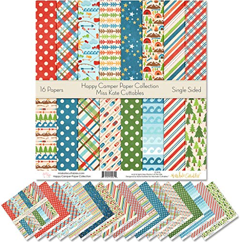 """Pattern Paper Pack - Happy Camper - Scrapbook Premium Specialty Paper Single-Sided 12""""x12"""" Collection Includes 16 Sheets - by Miss Kate Cuttables"""