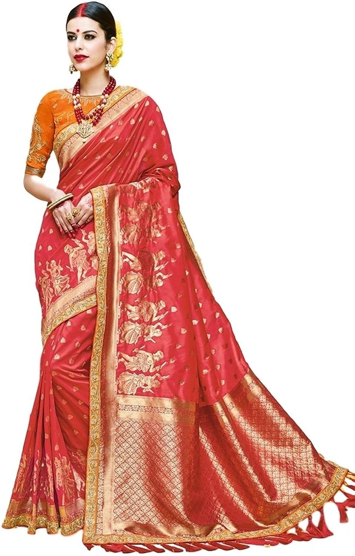EthnicWear Elegant Classy Pretty Art Silk Red color Karwachauth Traditional Zari Work Women Wear Saree