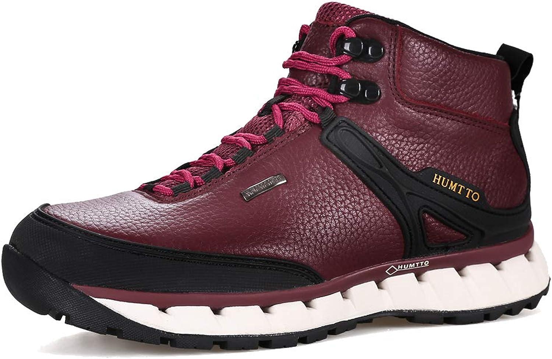 Sunjcs Unisex Hiking Trekking Boots Leather Waterproof Outdoor Mid-top shoes for Men Women