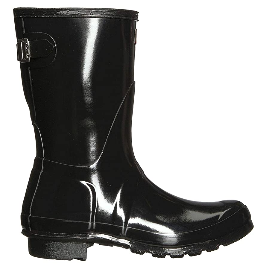 石炭債権者キリスト教Hunter Women's Original Back Adjust Short Black Mid-Calf Rubber Rain Boot - 8M