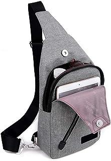 Almabner Herren Schultertasche aus Segeltuch Messenger Bag Brusttasche Fanny Geldbörse Crossbody Bag für Herren, verstellbare Träger wasserdicht mit Reißverschluss, hellgrau, Free Size