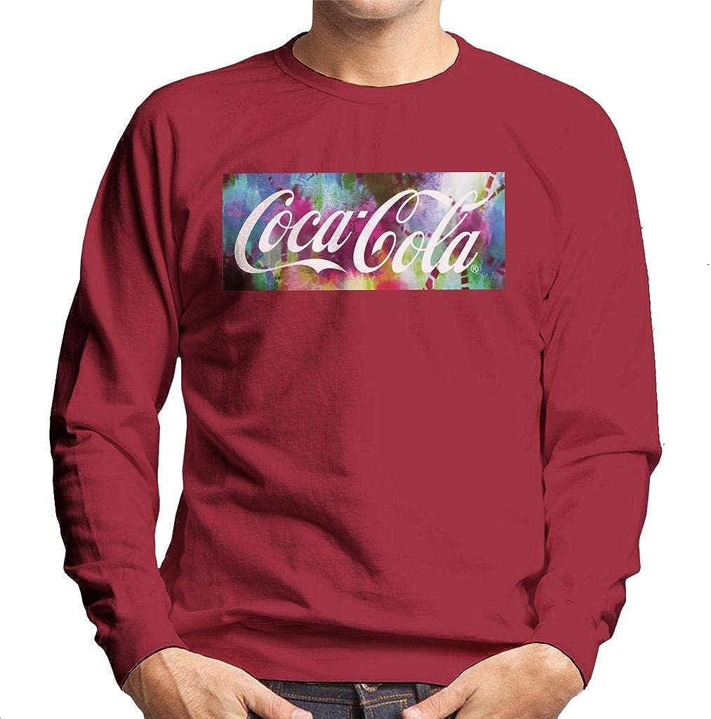 Coca-Cola Colourful Backdrop Men's Sweatshirt Cherry Red