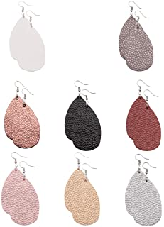 Leather Earrings Lightweight Faux Leather Leaf Earrings Teardrop Dangle Handmade for Women Girls 8 Pairs