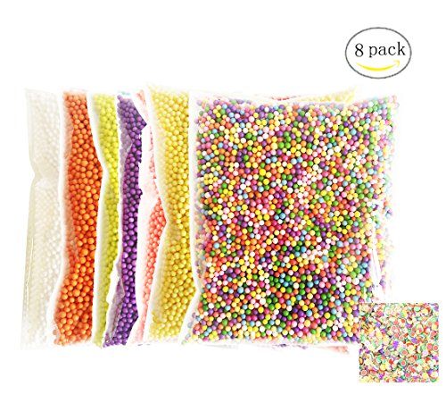 Third Goddess Foam Beads for Slime, Colorful Styrofoam Foam Balls & Fruit Slices for kids, Home Decor, Wedding and Party Decorations(8 Pack)