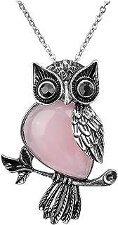 Jovivi Owl Gifts Owl Necklace Healing Crystal Stones Pendant Necklaces for Women Men Natural Amethyst Rose Quartz Gemstone...