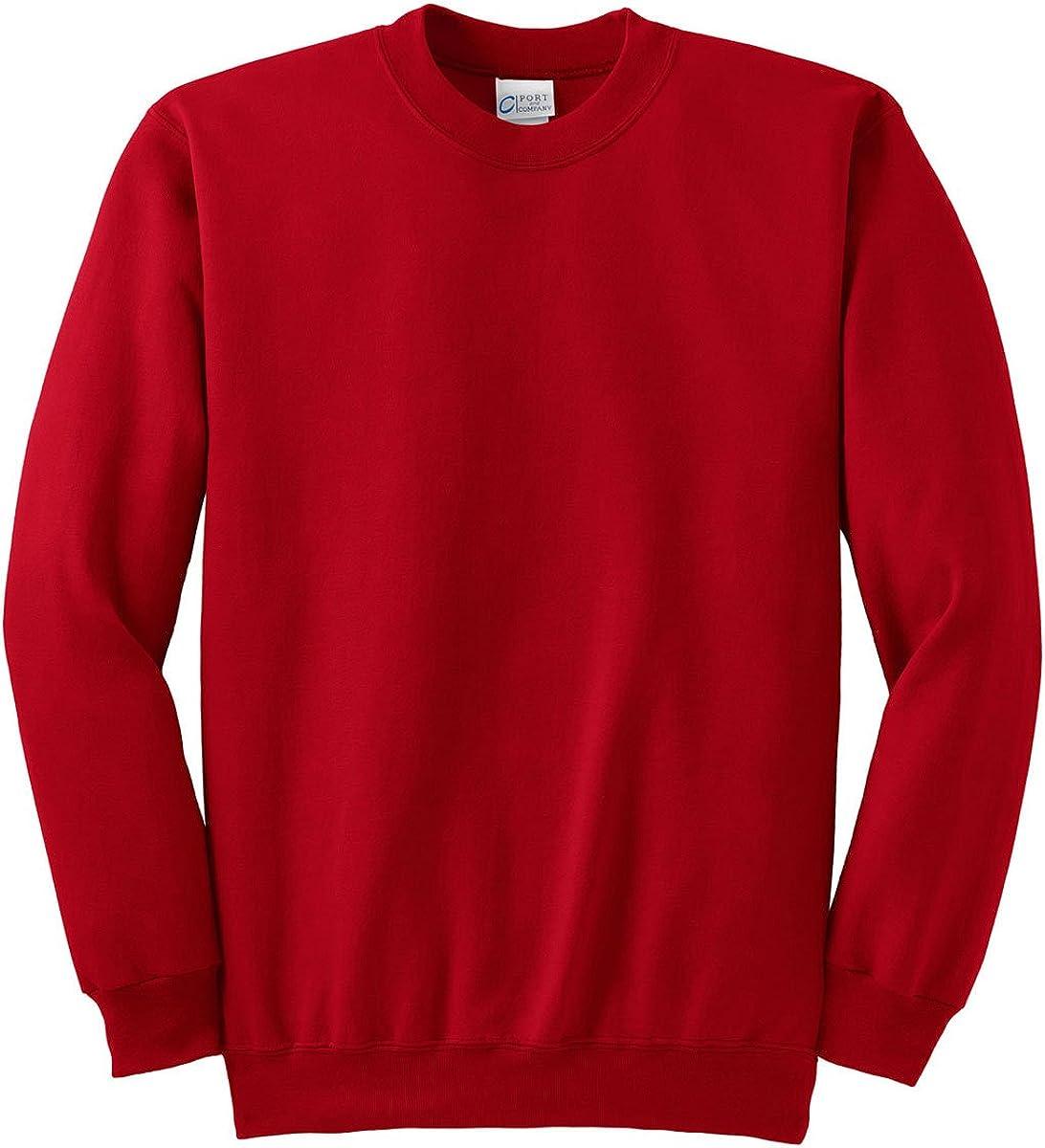 Port & Company Men's Big Perfect Crewneck Sweatshirt, Red, Small