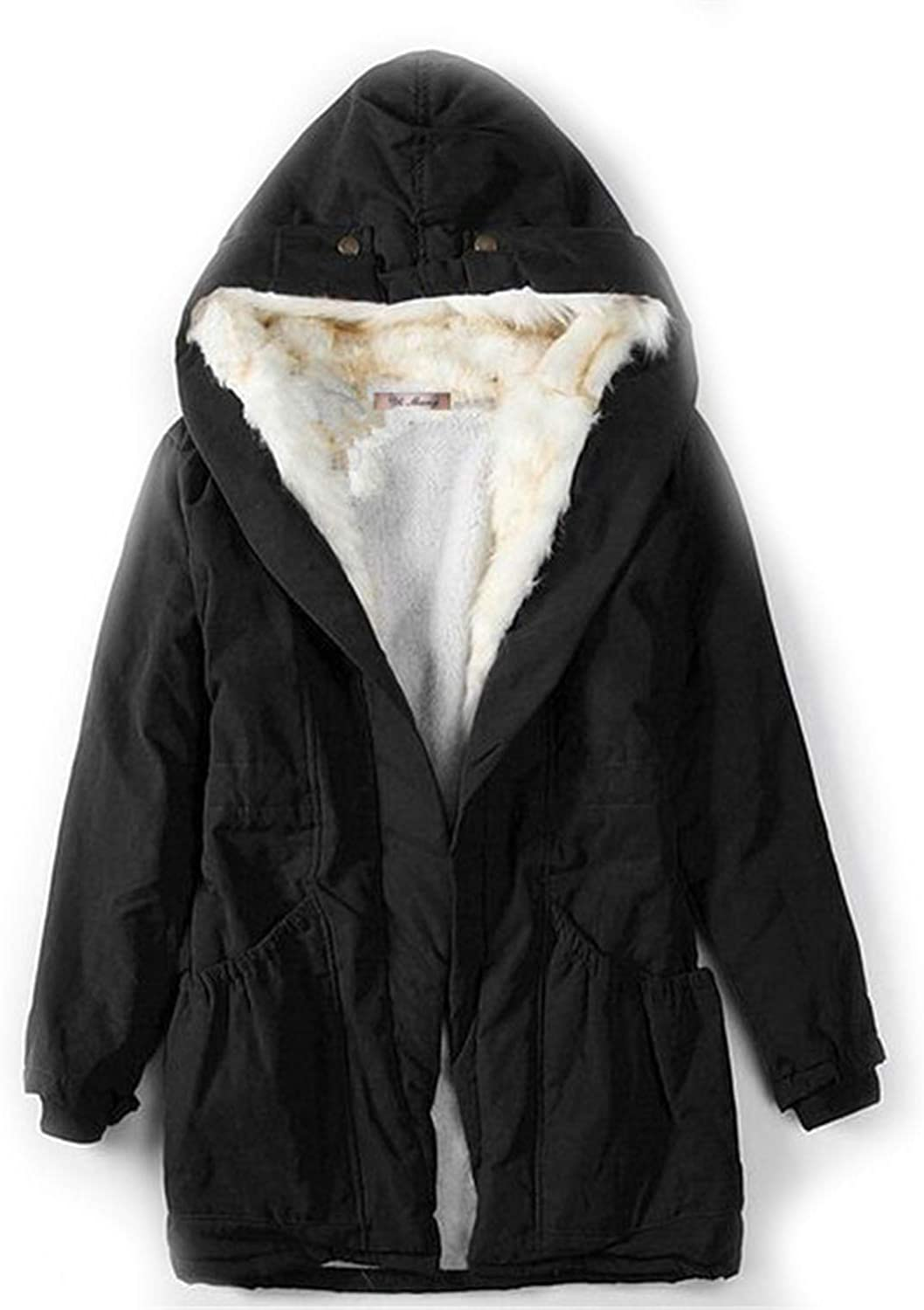 I'm good at you Solid color Fur Parkas Cotton Padded Hooded Jacket Winter Coat Women Casual Parka Winter Jacket