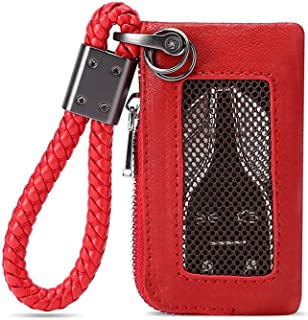 Car Key Chain Bag, Leather Universal Car Key Holder Keyring Zipper Case for Auto Remote Key Fob Cover Men Women (Red)