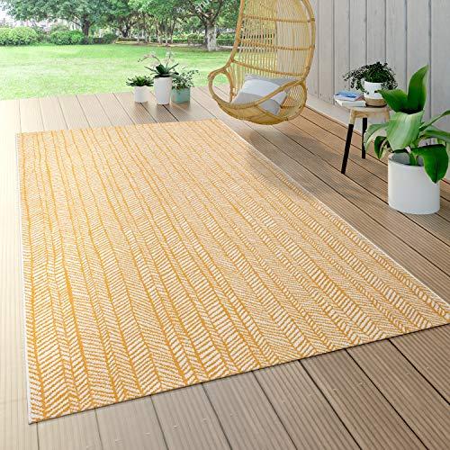 Paco Home Outdoor Teppich Für Terrasse Und Balkon, Geometrisches Muster, Modern, In Gelb, Grösse:80x150 cm