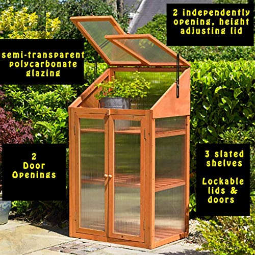 Rowlinson Garden Greenhouse Hardwood Coldframe, Brown, 120x69x51 cm