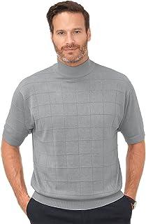 Paul Fredrick Men's Silk Grid Short Sleeve Mock Neck Sweater