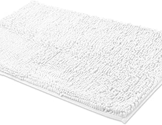 ITSOFT Non Slip Shaggy Chenille Soft Microfibers Bath Mat for Bathroom Rug Water Absorbent Carpet, Machine Washable, 21 x 34 Inches White