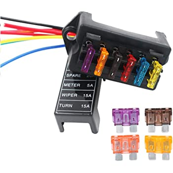 amazon.com: gebildet 2-input 6-output car standard blade fuse holder (apply  to 1~40 amp), atc ato 6 way fuse box with wire for car/boat/marine/trike,  block with 10 free blade fuse: automotive  amazon.com