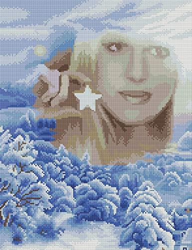 Awesocrafts Kit de punto de cruz con estampado de mujer y estrella de invierno fáciles patrones de punto de cruz bordado Kit de costura suministros (nieve)